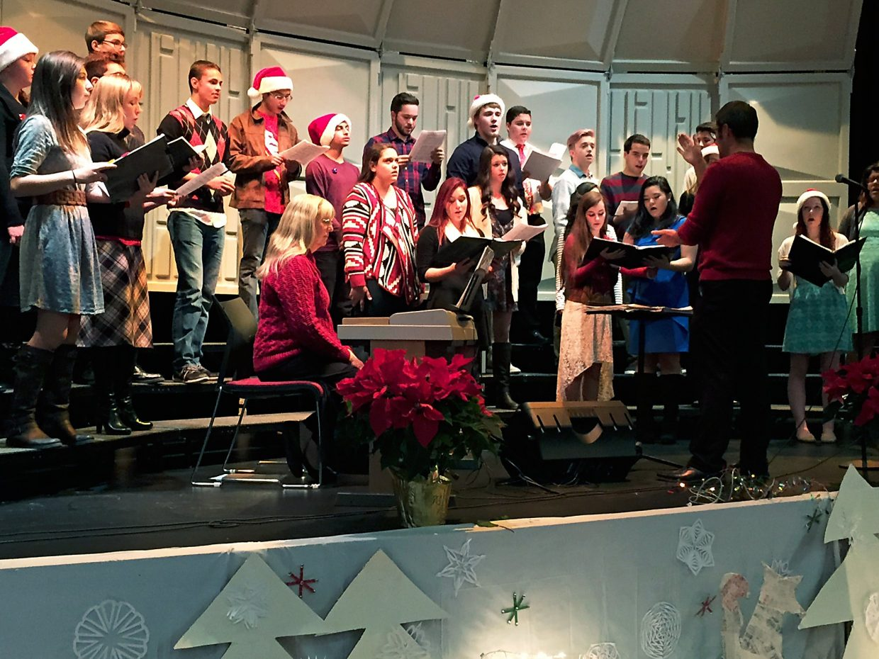 Members of the Rifle High School choir, under the direction of Daryl Gingrich, sing at the New Ute Events Center during the Hometown Holiday Celebration.