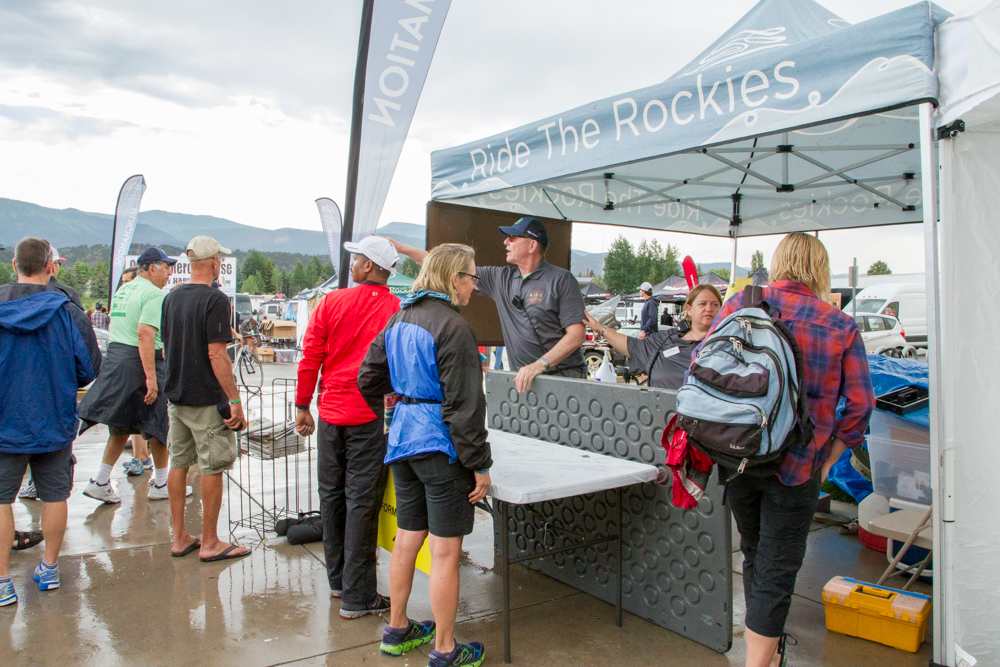 The check-in for Ride the Rockies at Roaring Fork High School.