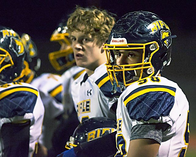 Rifle's Ramon Salvidrez (58) looks on as the Bears fall to the Discovery Canyon Thunder, 43-20, Friday, at District 20 Stadium in Colorado Springs.