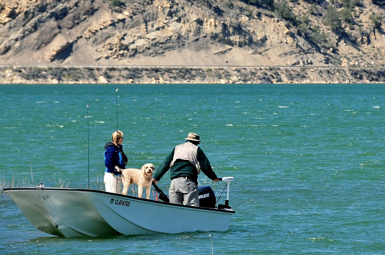 Ready to go! Visitors to Rifle Gap State Park reservoir are welcome to bring their furry friends on the water.