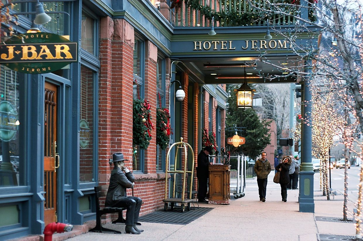 The 93-room Hotel Jerome is celebrating its 125th anniversary this winter, and after the renovation two years ago, every detail of the hotel, from the cowboy-clad doormen to the cashmere drapery, is exquisite.