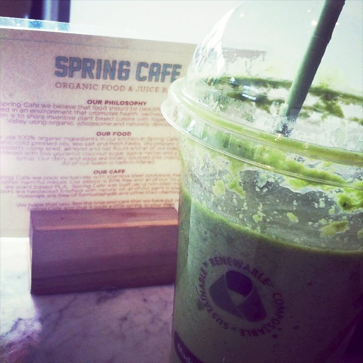 Spring Cafe is a natural organic cafe and juice bar. Try the Spring Shake, made with kale, avocado, dates, almond butter, fresh coconut and almond milk.