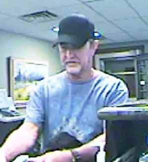 Surveillance photo of the man who on Monday robbed the West Glenwood Springs Alpine Bank branch.