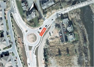 The eastbound leg of the 27th Street roundabout will be closed for repairs on Thursday from 9:30 a.m. until 5 p.m.  Southbound traffic on Midland Avenue should use Eighth Street to access Highway 82 during this closure. For any questions or concerns contact the City of Glenwood Springs Engineering Department, 970-384-6435.