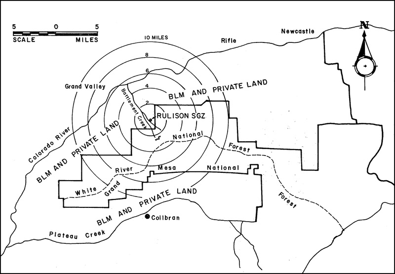Map of the area around Project Rulison.