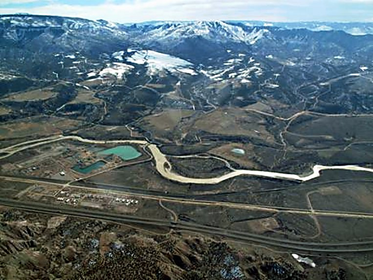 Aerial view of the Rulison area today.