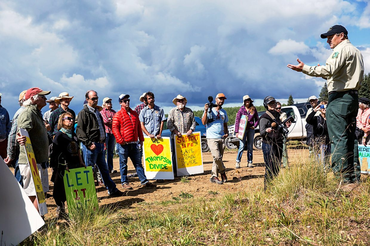 White River National Forest Supervisor Scott Fitzwilliams addresses a crowd of concerned citizens at a proposed natural gas well site on Thompson Divide Tuesday Morning.