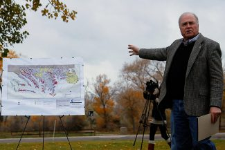Christopher Mullen Special to The Post Independent Tom Jankovsky, Garfield County Commissioner, signals to a map representing a Modeled Habitats for Greater Sage Grouse, during a press meeting at the Rifle Area Chamber of Commerce, Thursday Morning.