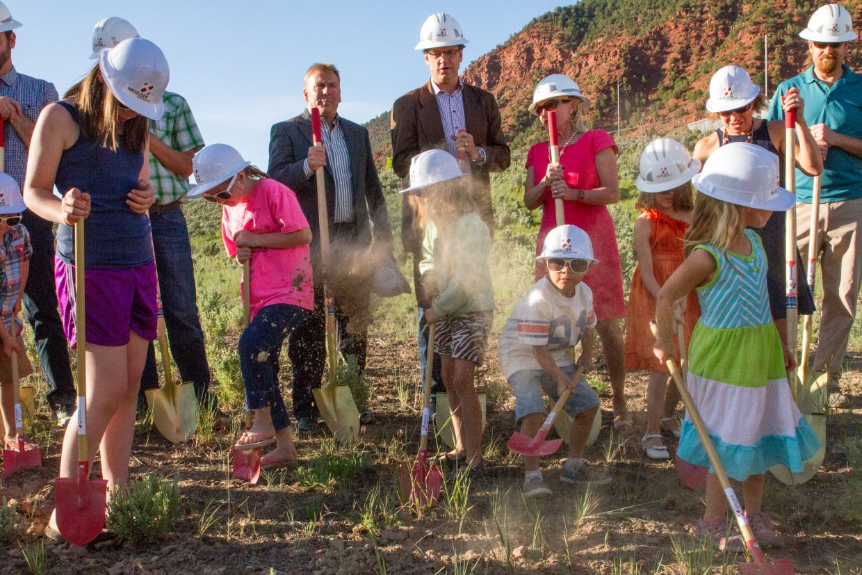 Future students of the new K-8 school at the Roaring Fork School District's Eastbank property join board members