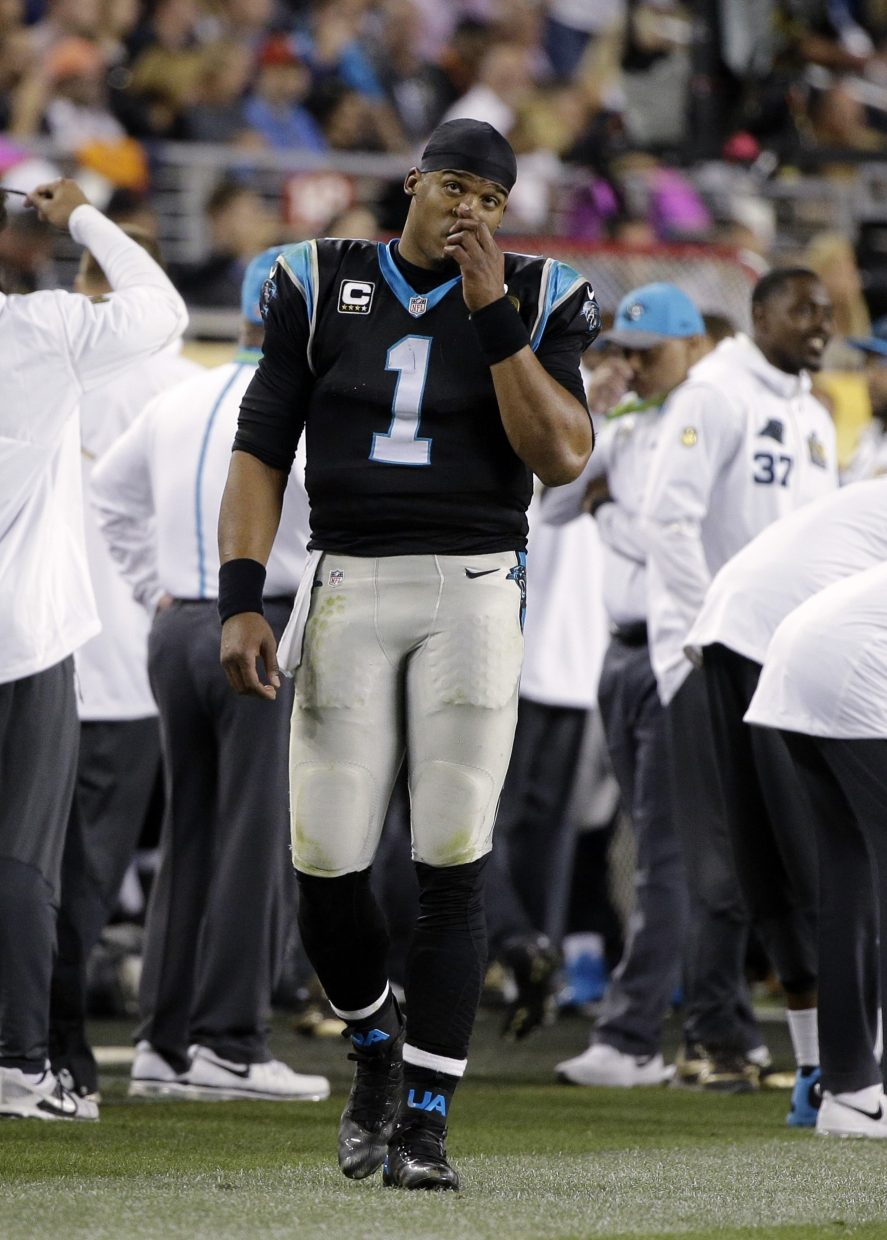 Carolina Panthers' Cam Newton (1) walks the sideline during the second half of the NFL Super Bowl 50 football game Sunday, Feb. 7, 2016, in Santa Clara, Calif. (AP Photo/Julie Jacobson)