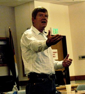 Congressman Scott Tipton addresses constituents at a town hall meeting Thursday evening in Glenwood Springs, at the Garfield County administration building.