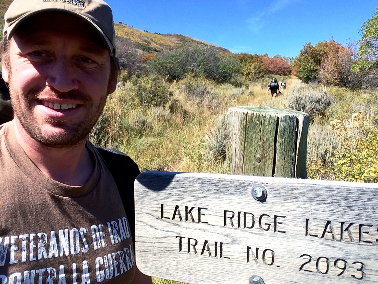 Vet Voices organizer Garett Reppenhagen at the Lake Ridge Lakes trail head near Middle Thompson Creek last Saturday afternoon.