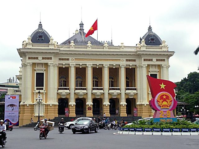 The Opera House, erected by the French in the early 1900s, is a landmark in central Hanoi.