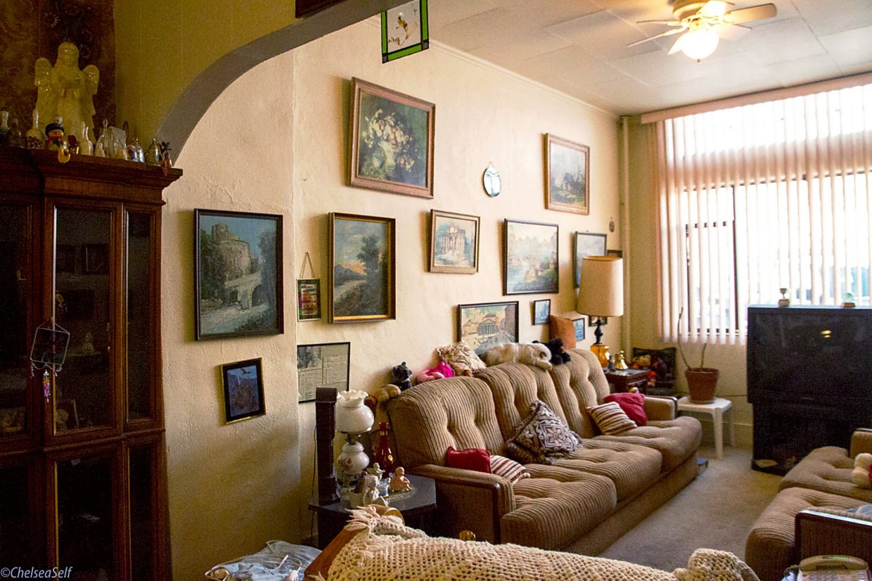 Ida Toniolli's living room at the Western Hotel is decorated with multiple paintings from Italy and Austria, and filled with many other homey touches. Toniolli died in February at age 105.