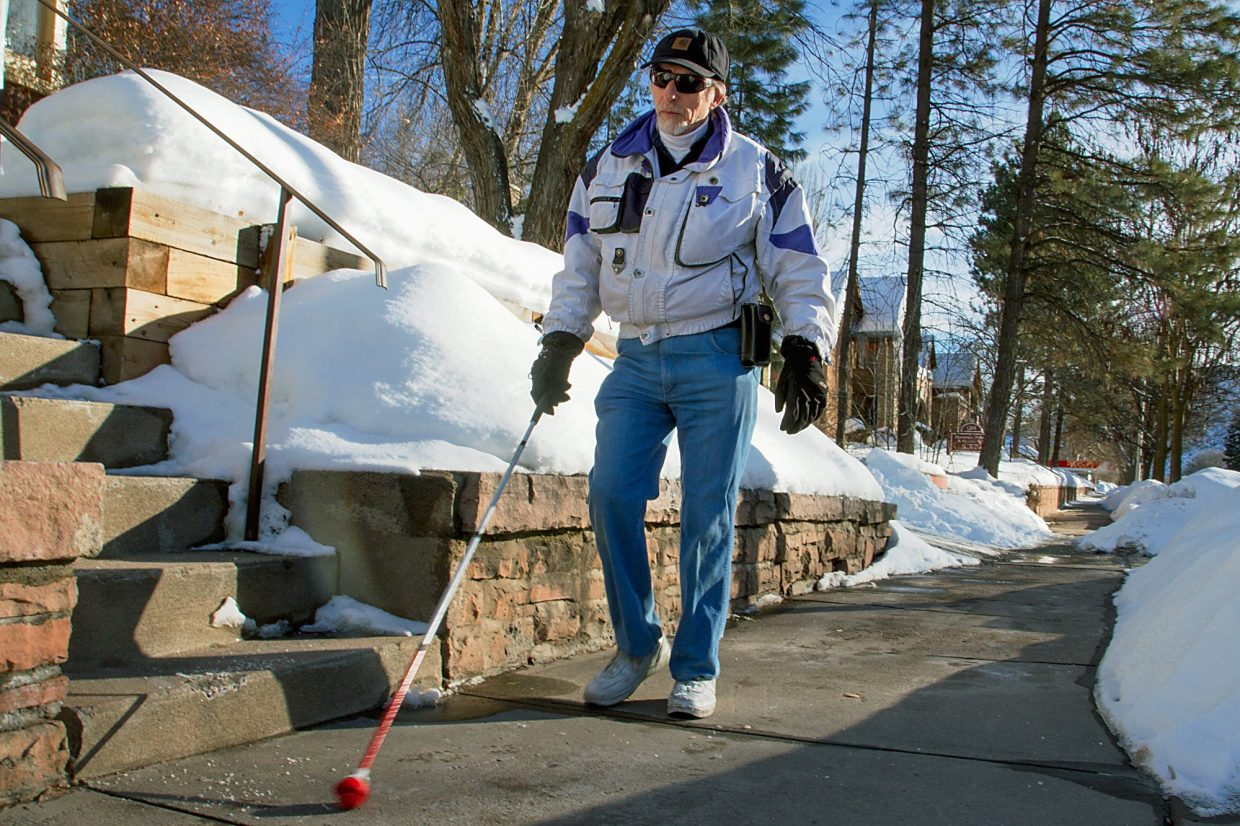 Nick Isengerg lives in Glenwood Springs and has been legally blind since birth. He relies on mostly sound and the use of his cane to safely make it around town.
