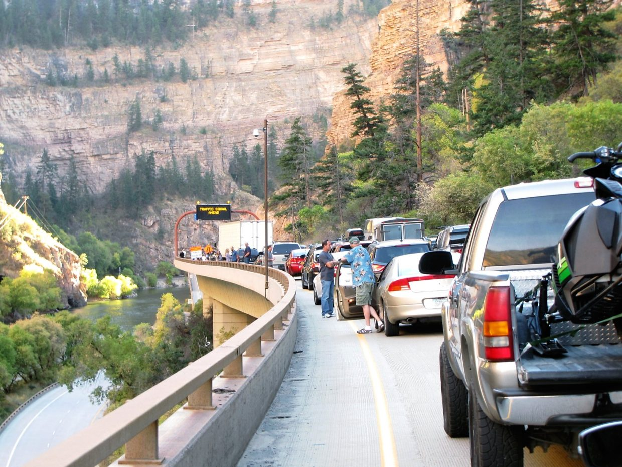 Travelerswait for traffic to start moving again late in the afternoon of Oct. 10 after an accident in the Glenwood Canyon construction zone halfted travel for more than an hour.