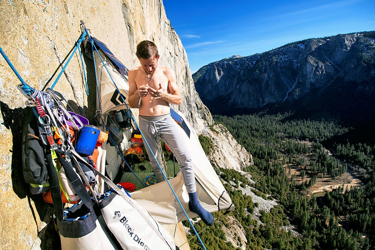Tommy Caldwell on El Capitan's Dawn Wall in January.