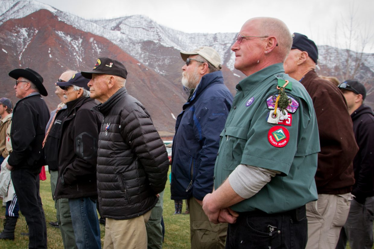 Jeff Morehouse of Glenwood Springs was among the large crowd that arrived Thursday afternoon to honor Cpl. Jesse James Beckius.