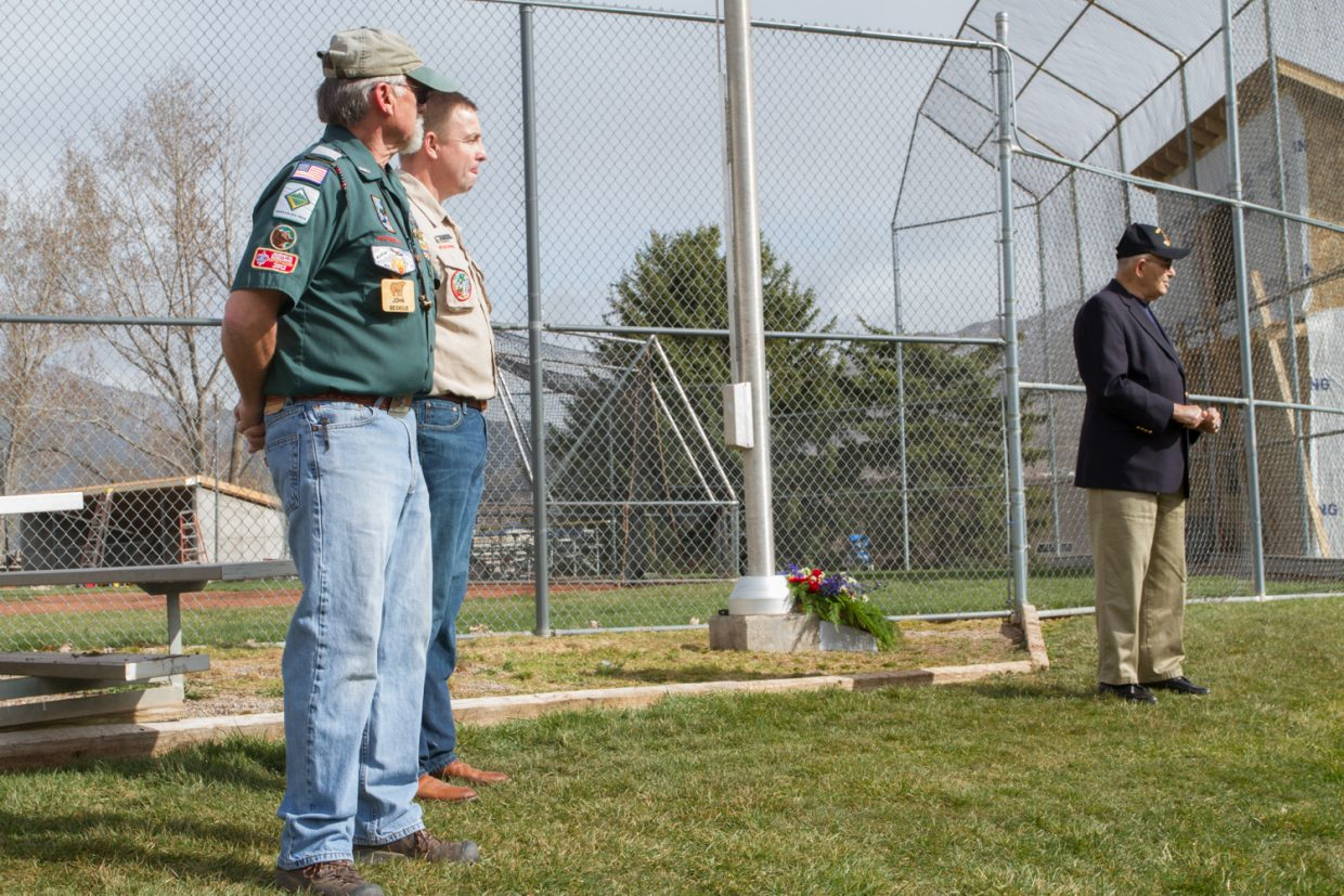 (From left to right) John Beckius (father of Jesse Beckius), Boy Scout Troop #225 leader, and retired Marine Corp Colonel Frank Pacello spoke at the ceremony on Thursday afternoon.