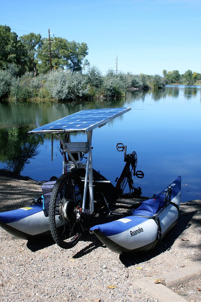 Eric Goakes' bike-boat is ready to hit the water after only a few adjustments.