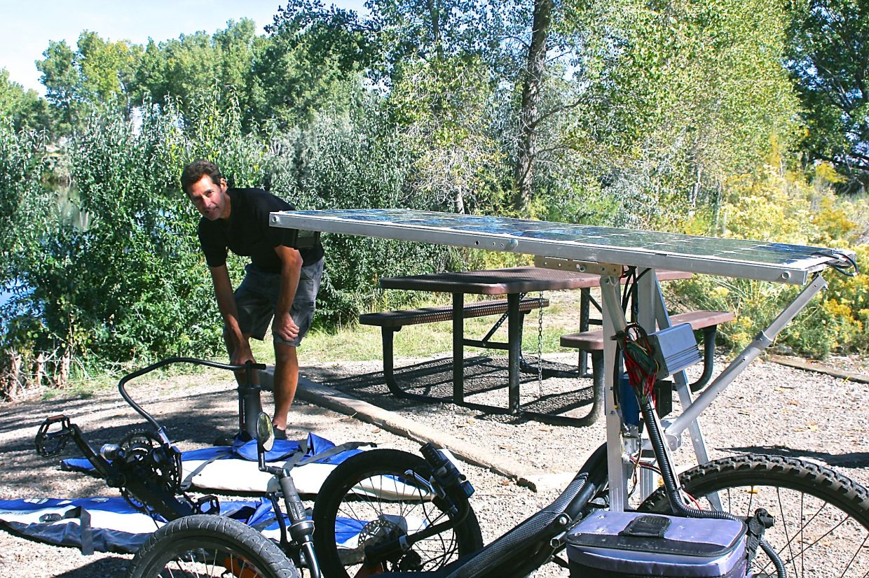 Eric Goakes recently constructed a bike-boat with his son, Jacob. He is able to take to the road and river with a short transformation. Here he's seen enjoying a sunny day at Grand Junction's Connected Lakes.