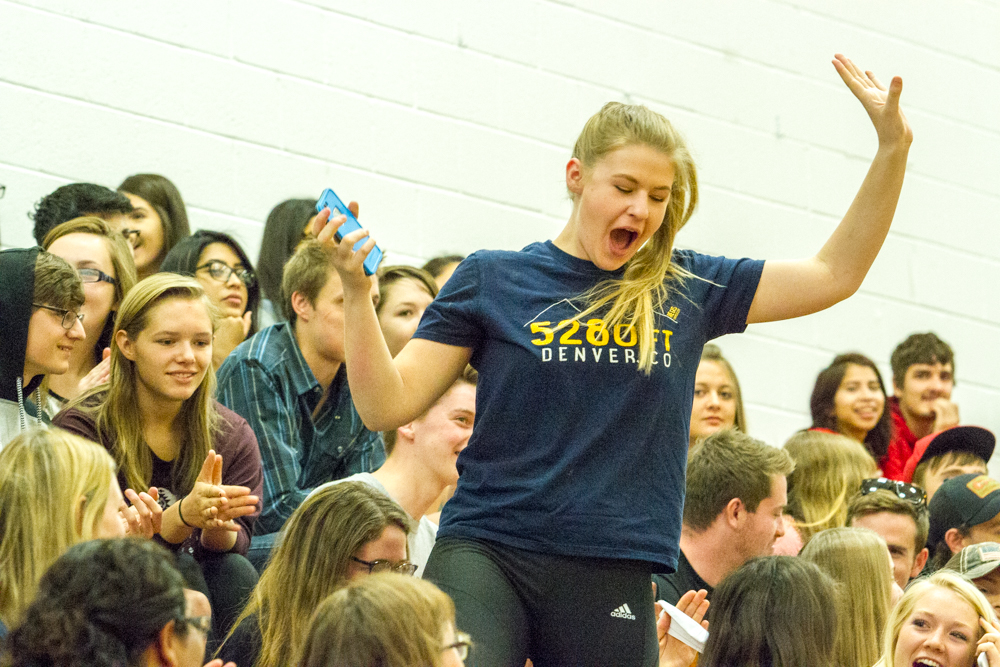 Glenwood Springs High School senior Olivia Dixon reacts after her name is called for the drawing of the car give-away at the Make the Grade assembly.