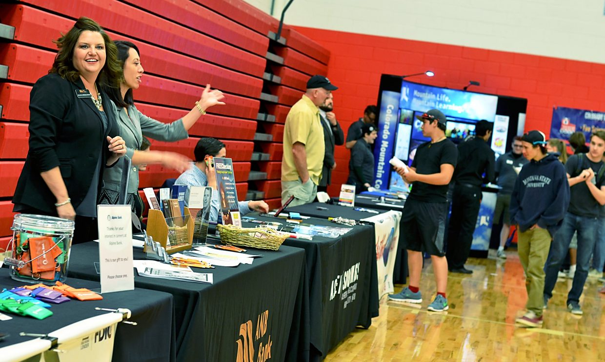 Nearly 50 employer representatives showed up at the Sunset Rotary and Roaring Fork Young Professionals' Student Career Fair at Glenwood Springs High School to show students what opportunities they have in both the summer and after graduation.