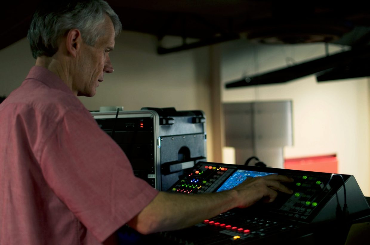 Don Chaney operates the sound board at the Ute Theater.