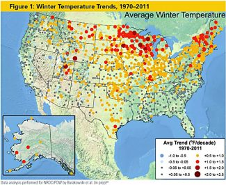 "Winter temperature trends, according to the 2012 report ""Climate Impacts on the Winter Tourism Economy in the United States."""
