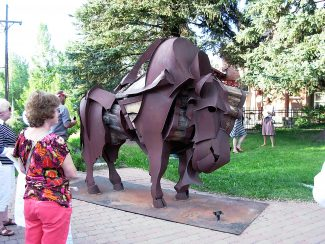 """Ernesto,"" a bison made of metal and wood by James Burnes of New Mexico, will remain in Carbondale permanently."