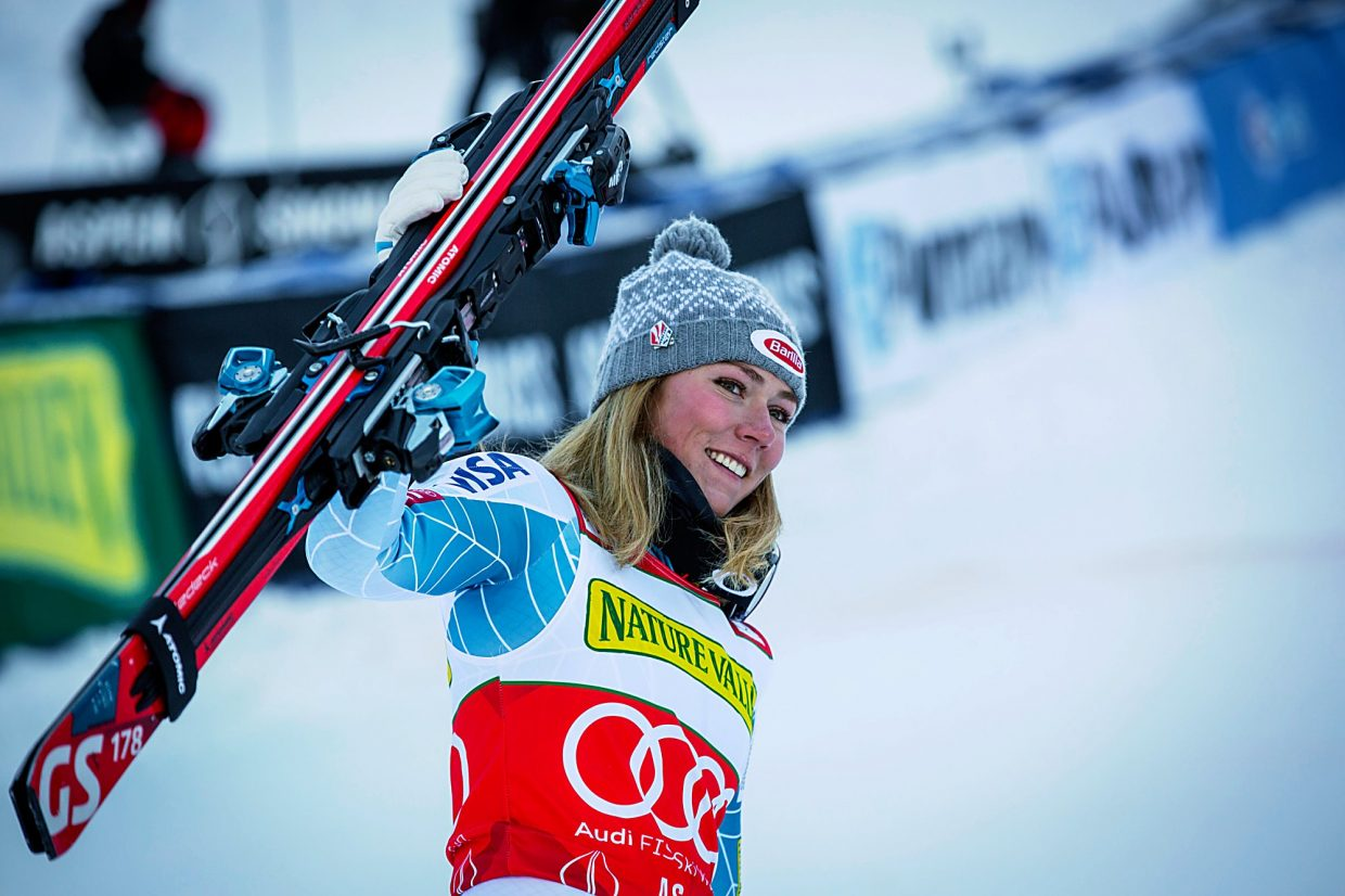 With two World Cup wins in Aspen, Mikaela Shiffrin of Eagle-Vail takes the lead in the overall World Cup standings.
