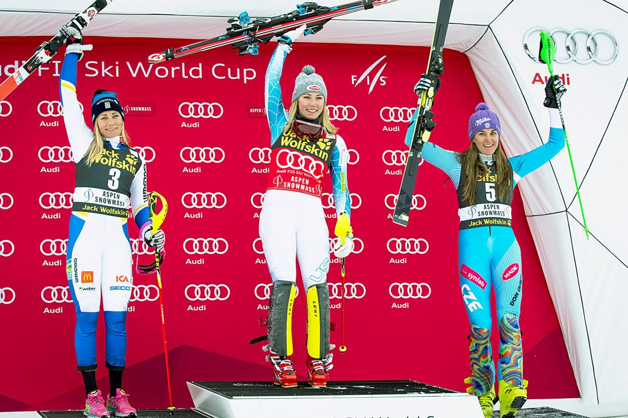 Mikaela Shiffrin, center, is joined over Thanksgiving weekend on the Aspen podium by Frida Hansdotter of Sweden, left, and Sarka Strachova of the Czech Republic, right.