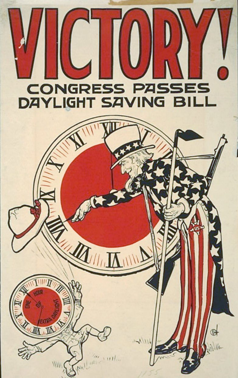 This poster sponsored by United Cigar Stores in 1918 celebrates passage of Daylight Saving Time. Uncle Sam turns a clock ahead as a clock-headed figure throws his hat in the air. The clock face of the figure reads