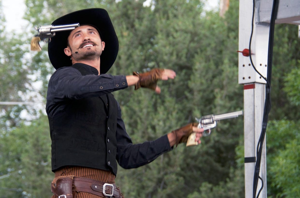 Loop Rawlins performed a gunslinging Wild West show all weekend at the Garfield County Fair.