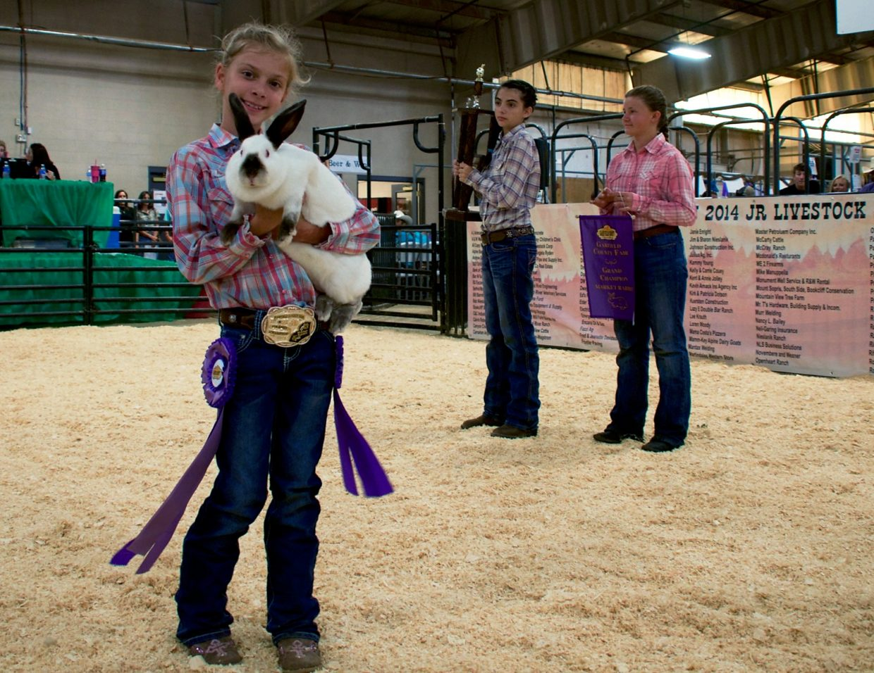 Hannah Barbados shows off her prize-winning rabbit, which sold for $2,000 at the livestock sale during the Garfield County Fair on Saturday afternoon.