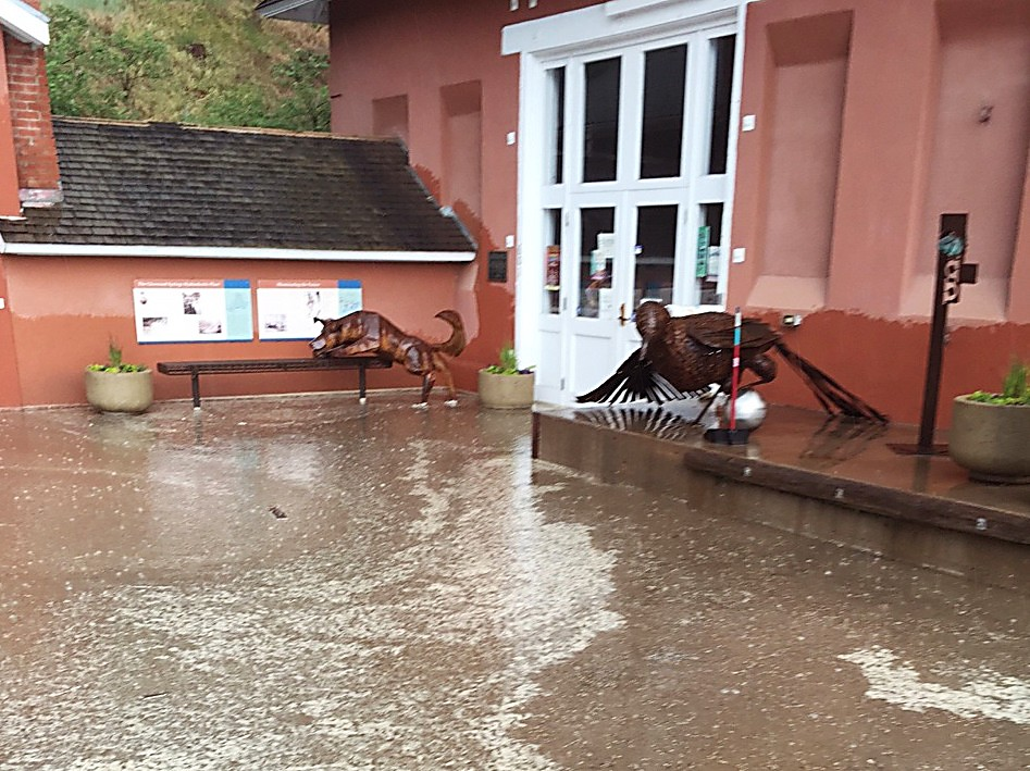 Terri Muldoon of the Glenwood Springs Center for the Arts was at work Sunday preparing for Strawberry Days when she noticed water coming under the front door.