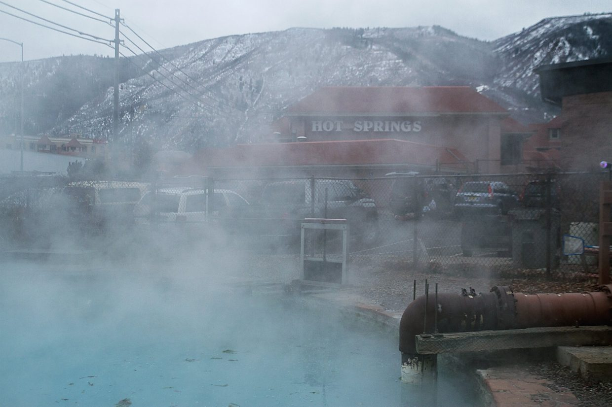 Steam rises from the main Yampa Hot Springs pool, the central spring that feeds the Hot Springs therapy and recreational pools, as well as an extensive geothermal heating and snowmelt system throughout the pool and lodge buildings.