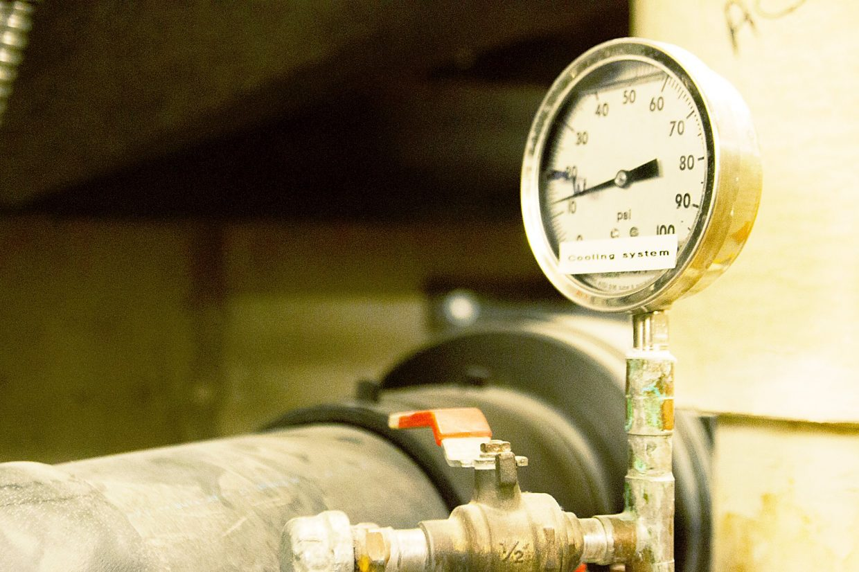 A pressure valve and gauge in the Hot Springs Lodge boiler room.