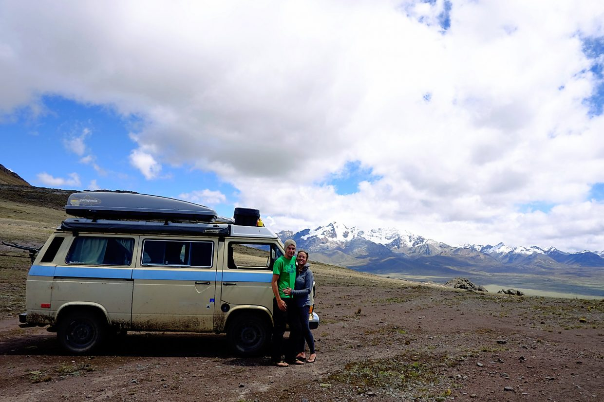 Rachel and George Nettles road tripped on the Pan-American Highway in Dolores, their Westfalia Vanagon. Here they are in Cordillera Blanca, Peru.