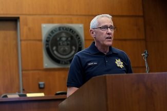Eagle County Sheriff Joseph D. Hoy speaks at the Eagle County Courthouse during a press conference on Tuesday about the murder of Joseph Kelly Jr. and the suspect, Kelly's 13-year-old son.