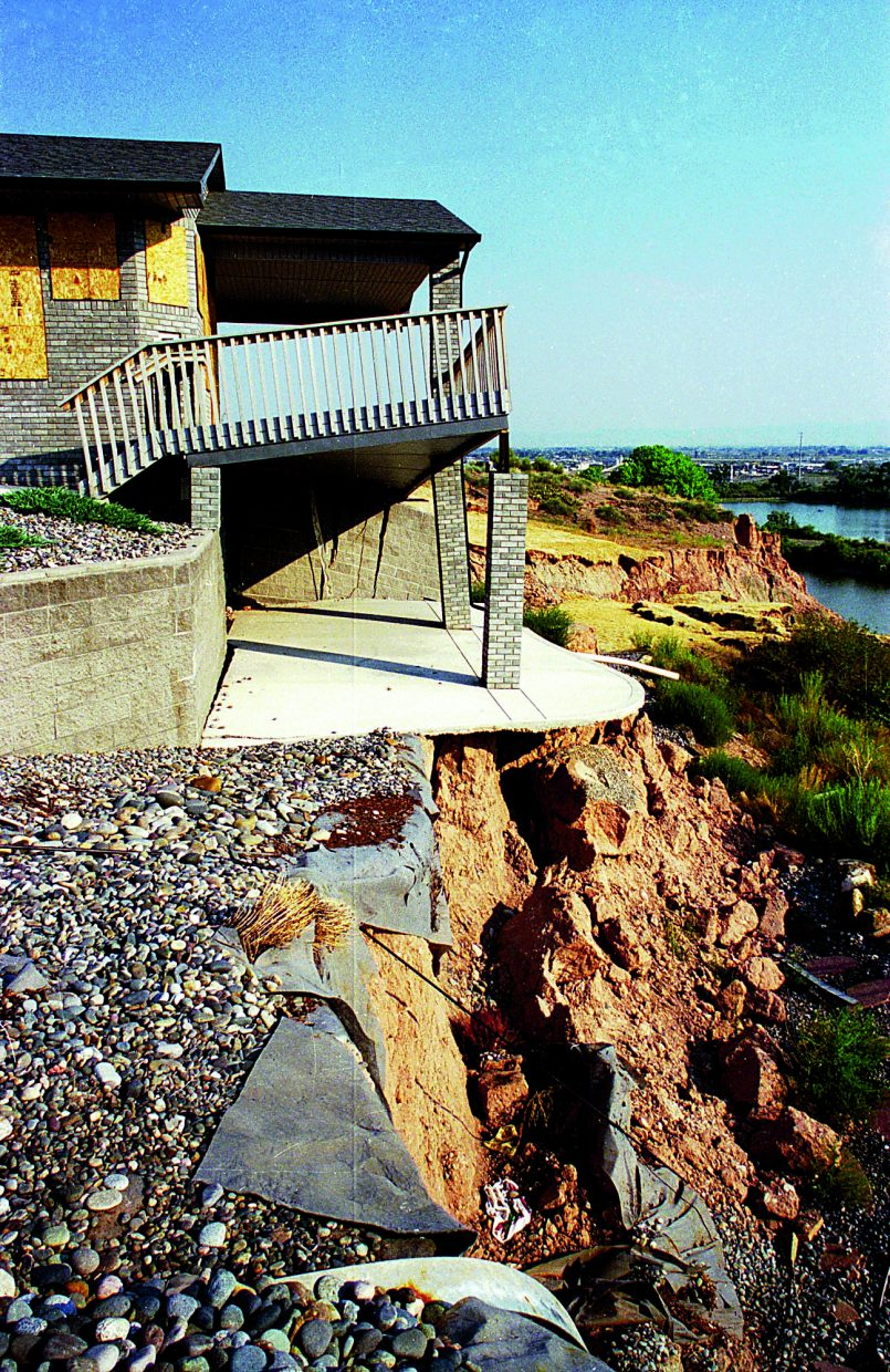 Here's another view of a home near Grand Junction destroyed when the Colorado River undercut its own bank.
