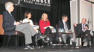 Taking part in Monday's Roaring Fork Valley Immigration Forum in Aspen are, from left, moderator Steve Wickes, Sarah Hughes of U.S. Sen. Michael Bennet's office, Nan Stockholm Walden of Green Valley Pecan Co., Aspen hotelier Warren Klug and John Suthers, Colorado state attorney general.