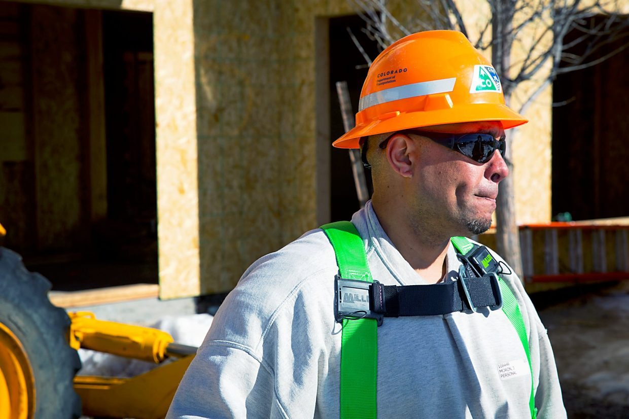 Joseph Morón talks about the skills he is gaining while helping build a Habitat For Humanity house in Carbondale.