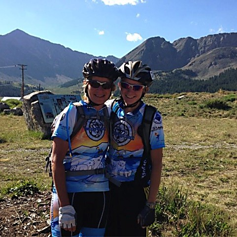 Pat and daughter Kelsey Bohman on the top of Freemont Pass during the