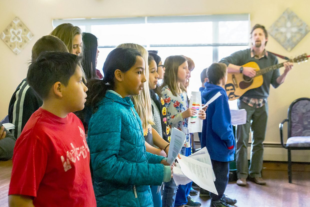 Morgan Williams' fifth grade class from Two Rivers Community School spent Wednesday morning singing mining songs to the residents at Grace Healthcare. The students have been doing studies on mining in class, and Williams incorporated music into the lessons.
