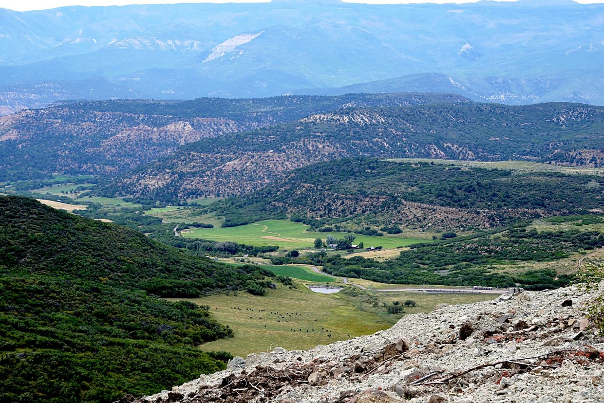 The view from West Spill-Over Ridge looking north towards open ranch land and Oxy well pads.