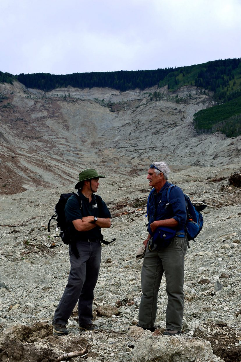 Dr. Rex Cole with the Colorado Mesa University Geology Department and Jeff Coe with U.S. Geological Survey answered questions about the slide during a recent tour. Both have extensive knowledge of the region, explaining that the Grand Mesa is prone to landslides.
