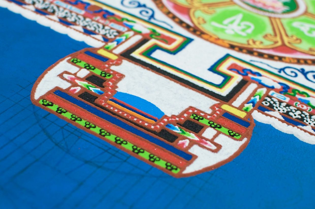 A sand mandala is complex, made of preplanned blocks of color.