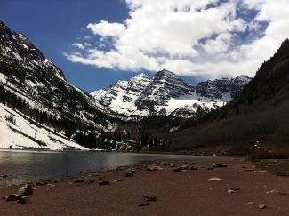 Snow is melting from the Maroon Lake area after a wet April and early May. U.S. Forest Service staff and volunteers are preparing facilities in anticipation of summer. / Kimberly Cordle courtesy photo