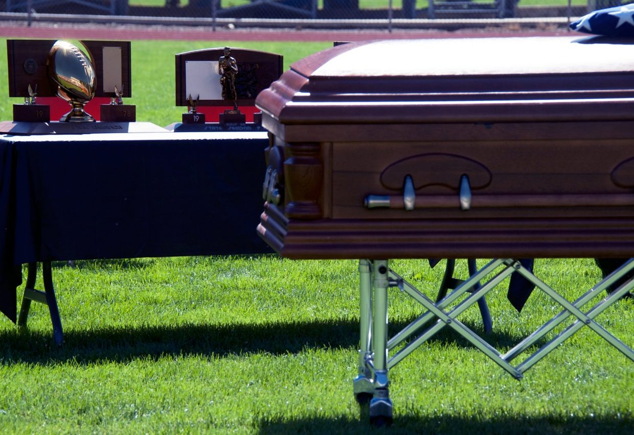 Coach Don Miller's many accumulated football and track and field awards were displayed at his memorial Sunday morning at the Glenwood Springs High School football stadium on Coach Miller Drive.